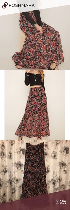"""🌸 Floral Print Tiered Skirt 🌸 Woven maxi skirt featuring an allover print, tiered design, and concealed back zipper.  100% polyester. Hand wash cold. Made in China. Full length: 40 inches.  ⭐️ Top-rated Seller! 📦 Fast Shipper!  🚫  No trades.  ⬇️ Lower offers accepted. ❓ Please ask any questions you have before buying.  💟  Potential buyer: please leave a """"Love Note"""" if you love it! Forever 21 Skirts Maxi"""