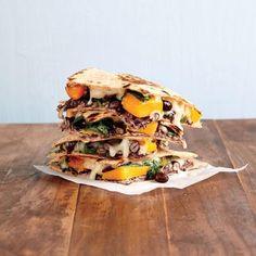 Quick and Healthy Vegetarian Recipes: Butternut Squash, Kale, and Black Bean Quesadillas Recipe | CookingLight.com