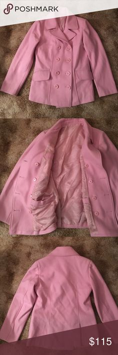 Pink Peacoat Small light streaks in a couple places.  Lots of pockets!  Great pop of color!  Missing tag and brand label. Jackets & Coats Pea Coats