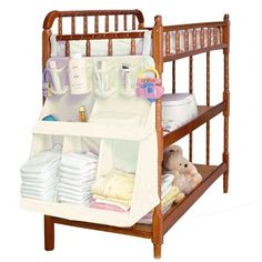 Baby Bedding & Accessories - For Sale - Baby Bed Hanging Organizer Bag Waterproof Baby Diapers Portable Storage Bag Feeding Bottle Toys For Crib Bed Storage Rack Access Diaper Storage, Diaper Organization, Stroller Storage, Nursery Organization, Organization Hacks, Hanging Crib, Hanging Storage, Hanging Organizer, Bedside Organizer