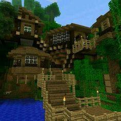 Cliff House in a Jungle Biome - Creative Mode - Minecraft: Java Edition - Minecraft Forum Minecraft Houses Survival, Easy Minecraft Houses, Minecraft Houses Blueprints, Minecraft Room, Minecraft House Designs, Amazing Minecraft, Minecraft Creations, Minecraft Crafts, Minecraft Jungle House