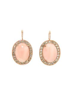 Andrea Fohrman - Large Oval Angel Skin Coral and Diamond Earrings