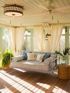 Sun room. Love the curtains
