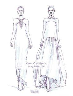 """Oscar de la Renta SS 2015"" fashion illustration by Tania Santos"