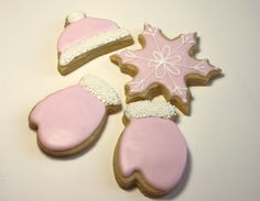 iced cookies,Christmas Cookies,Pink Winter Cookeis