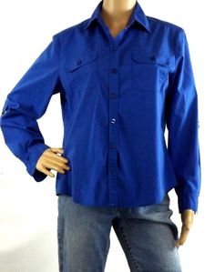 Chico's Sz 1 (8-10) Blue Blouse Long Sleeve Button Front Cotton Blend Stretch #Chicos #Blouse #Career