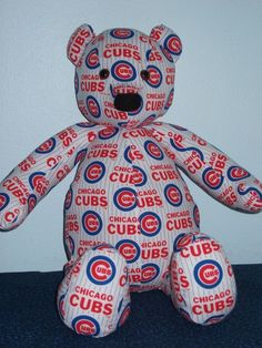Teddy Bear Cubs Chicago Cuddly Buddy Baseball MLB Clark Handmade Brown Eyes #ChicagoCubs