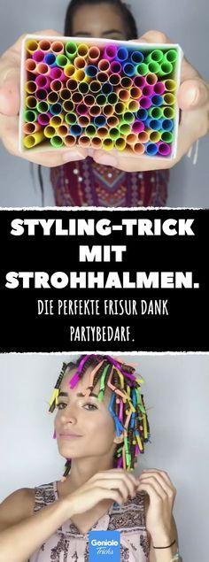 Styling-Trick mit Strohhalmen. #strohhalm #locken #styling #frisur #diy #conditioner #schaumfestiger #lockenstab