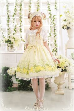 Cheval de Bois ~Lemon Garden~ Sweet Lolita Normal Waist JSK Dress - My Lolita Dress