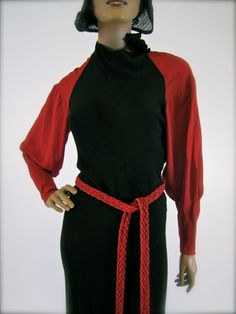 #Vintage 1930's Red & Black Art Deco Wool Crepe #Dress..but not the braided belt!