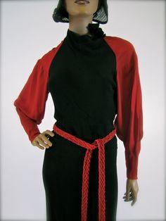 Vintage 1930's Red & Black Art Deco Wool Crepe Dress