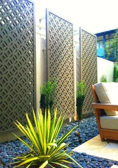 Privacy screen for deck. Crestview Doors - Pictures of modern front doors for mid-century modern houses, ranch homes, retro ramblers, post-war bungalows and n. Privacy Fence Designs, Privacy Landscaping, Backyard Privacy, Backyard Fences, Front Yard Landscaping, Landscaping Ideas, Privacy Screens, Yard Fencing, Fence Garden