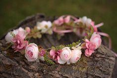 Flower head wreath head piece colorful summer flower hair wreath wedding crown
