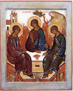 The Holy Trinity Byzantine Icons, Byzantine Art, Russian Orthodox, Orthodox Icons, Soviet Union, Triptych, Mosaics, Holi, Medieval