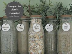 This is a fun way to recycle those Starbucks Frappuccino bottles especially if you drink a lot of them.  Put your collections in them, in this case sand from different trips, and label them.  Would work great for homemade spices too.