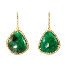 Broken English emerald earrings. 18K Yellow Gold 9.90CT Emeralds with .60CT diamond pave.