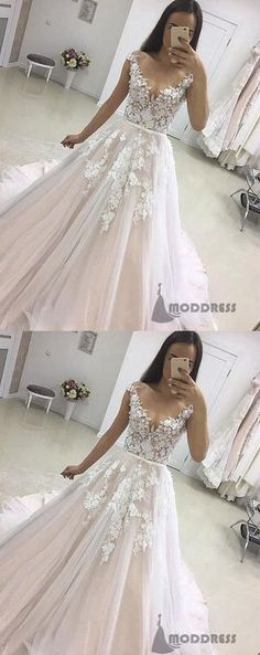 Popular See Through Cap Sleeves A-line Wedding Dresses Online, Cheap Champagne Bridal Dresses, Klienfeld Wedding Dresses, Western Wedding Dresses, Cheap Wedding Dress, Bridal Gowns, Prom Dresses, Cheap Dresses, Long Dresses, Wedding Bridesmaids, Applique Wedding Dress