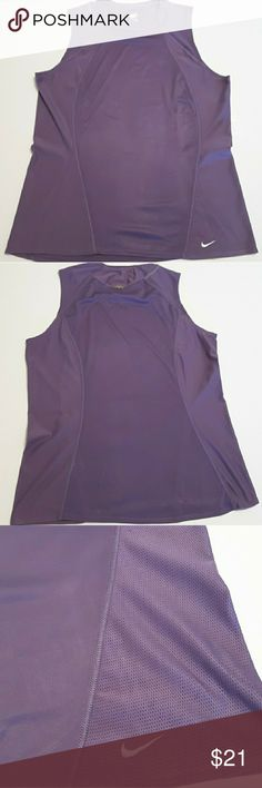 """Nike Fit Dry Sleeveless Top Size Large 12 - 14 This Nike Fit Dry top is in great condition.  It is made of 100% Polyester.   Chest: 20"""" Back length: 27""""  My home is smoke-free and pet-free.  Check out the other items in my closet and bundle two or more items for a great bundle discount.  The time I consider all offers.  Happy POSHING! Nike Tops"""
