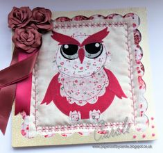 Owl card using Debbie Shore's Owl Applique dies from Crafter's Companion. #papercraftbycarole #crafterscompanion