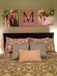 Custom canvas prints of wedding pictures in master bedroom #canvas #walldecor…