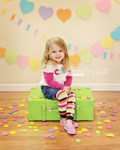 Valentines Day mini session Pastel hearts and suitcase. Photography Mini Sessions, Birthday Photography, Photography Backdrops, Children Photography, Photography Ideas, Valentine Mini Session, Valentine Picture, Valentines Day Photos, Baby Pictures