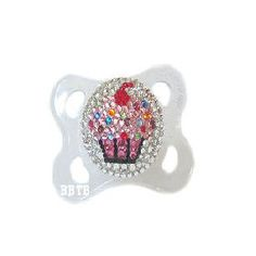 Cupcake Bling Pacifier -- Baby Bling Things Boutique Online Store