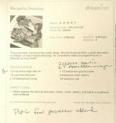 Margarita vinaigrette - mom made it tonight and here is her tweaked recipe. So good on salad!