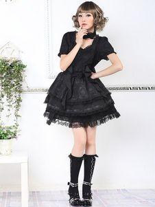 Sweet Black Short Sleeves Cotton Blend Lolita Dress