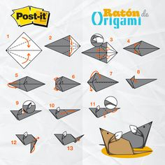 Picture Tutorial on folding a post it note into a mouse! Cute Origami, Kids Origami, Origami And Kirigami, Origami Easy, Diy And Crafts, Arts And Crafts, Paper Crafts, Origami Jewelry, Origami Tutorial