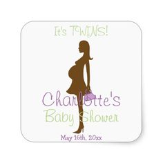 It's TWINS! Purple Silhouette Baby Shower Square Stickers