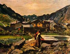 "Joaquim Mir Trinxet (1873-1940) .""Afores d'Andorra"". Óleo sobre tela. 60 x 80 cm. Colección particular, Barcelona. Catalunya."