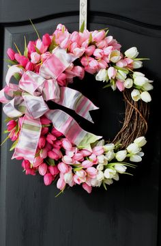 Spring Tulip Wreath pink tulips with striped bow. by OurSentiments