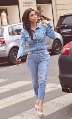 Denim fashion #KimKardashian
