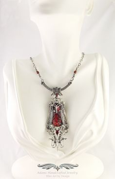 Freya -- from the 'My Heart' Collection  Fierce yet beautiful, Freya was the Norse goddess of both love & war. Her name means The Lady. No man could resist when she wore her enchanting necklace known as the Brisingamen. Allow her to enchant you too!  Custom Red Alumilite Pendant Necklace in Fine