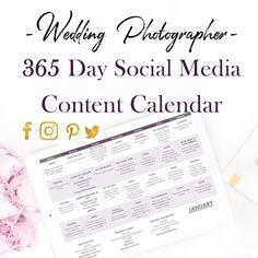 Wedding Photographer 365 Day Social Media Content Calendar — Editing by Kristin Dain Business Calendar, Marketing Calendar, Social Media Calendar, Social Media Content, Social Media Marketing, Business Marketing, Digital Marketing, Photography Business, Photography Tips