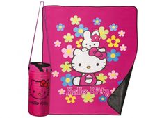 HELLO KITTY FLOWER PLAID CAMPING IMPERMEABILE  Plaid Hello Kitty con tessuto impermeabile all'interno con sacca