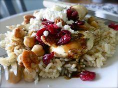 Honey Balsamic Chicken over rice   {chick peas, pecans, feta, cranberries}