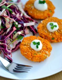 Sweet Potato, Red Lentil & Sesame Patties and Asian-style Cabbage Slaw