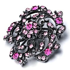 Pugster Classic Black Flower With Rose Pink Swarovski Crystal Diamond Accent Brooches And Pins Pugster. $35.49. Money-back Satisfaction Guarantee.. One free elegant cushioned Gift box available with every order from Pugster.. Exquisitely detailed designer style with Swarovski cystal element.. Can be pinned on your gown or fastened in your hair with bobby pins.. Occasion: casual wear,anniversary, bridal, cocktail party, wedding
