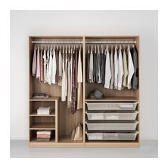 PAX Wardrobe, white stained oak effect, Nexus Vikedal soft closing hinge 200x60x201 cm
