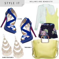I love the bold colors and chandelier earrings.