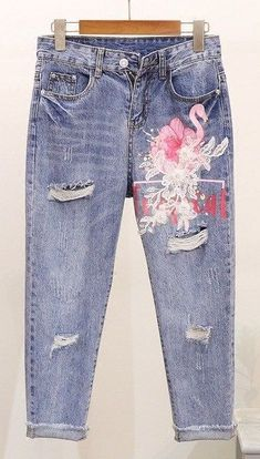 Women's Embroidered Flamingo Design Jeans