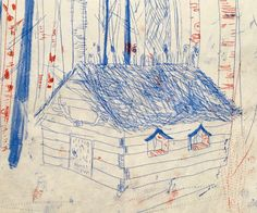 2 colour mono print of a log cabin in the woods by Kim Jenkins