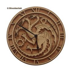 """Targaryen Wood Clock 20 Awesome """"Game Of Thrones"""" Items To Take Back To College Game Of Thrones Gifts, Game Of Thrones Party, Game Of Thrones Books, Game Thrones, Game Of Thrones Bedroom, Clock Games, Game Of Thrones Merchandise, Wood Games, Wood Clocks"""