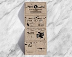 Accordion fold wedding invite with hipster icons, hand written fonts and whimsical artwork on a kraft background.