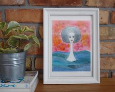 Original Watercolor Portrait, Abstract Painting Illustration, Illustration Painting Watercolor, Watercolor Drawing, Afro hair, Sea Nature by NataliaKasperowArt on Etsy