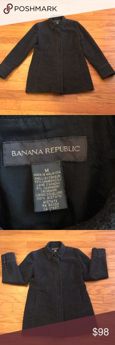 Banana Republic Wool/Cashmere Blend Coat Banana Republic Wool/Cashmere Blend Coat. Size Medium. 92% lambswool. 8% Cashmere. Dark gray. Soft Outer.  2 seam pockets in front.  One snap button missing. Split on inside lining but does not affect outer wear. Slight wear on cuffs. See pics. Overall great condition. Top of shoulder to bottom approx. 31 inches. Pit to pit approx. 19 inches. Banana Republic Jackets & Coats