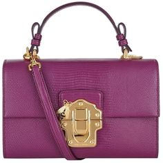 Dolce & Gabbana Lucia Embossed Leather Shoulder Bag (€1.625) ❤ liked on Polyvore featuring bags, handbags, shoulder bags, purses, purse shoulder bag, purple leather handbag, leather hand bags, evening handbags and man bag
