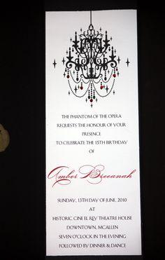 Phantom of the Opera Invitations by lilsocialbutterflies on Etsy, $4.00