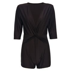 Deep Gray Plunge Neck Twist Front Half Sleeve Romper Playsuit ($22) ❤ liked on Polyvore featuring jumpsuits, rompers, plunging neckline romper, grey romper, plunge neck romper, playsuit romper and gray romper